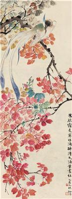 红叶小鸟 立轴 设色纸本