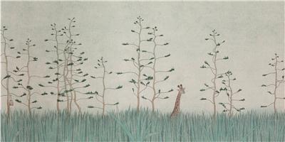 长颈鹿 镜心 设色纸本
