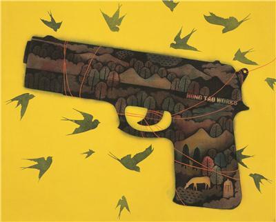 枪钓 镜心 设色纸本