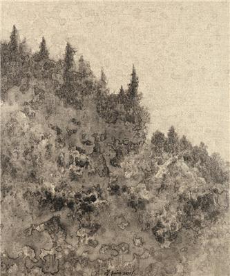 风景系列1号 外框 综合材料布面水墨