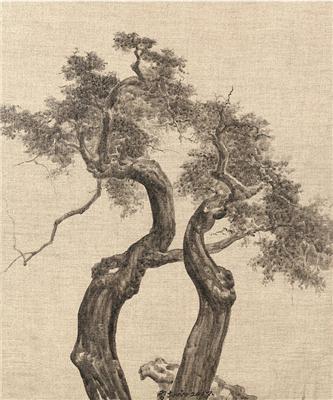 古树系列16号 外框 综合材料布面水墨