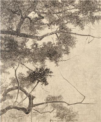 古树系列12号 外框 综合材料布面水墨