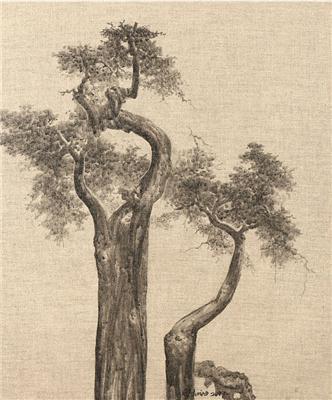 古树系列15号 外框 综合材料布面水墨