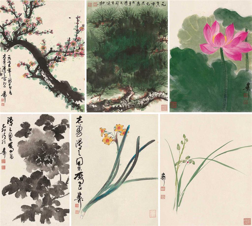 花卉 (六帧) 镜片 设色纸本